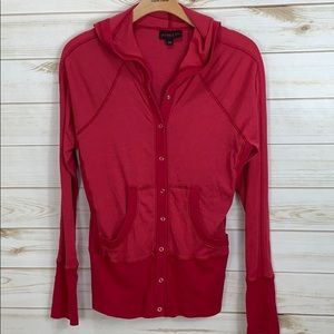 ATHLETA~ Med Hot Pink Button up top